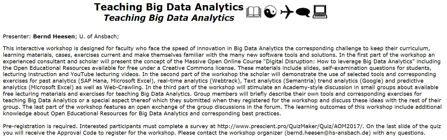 Teaching Big Data Analytics